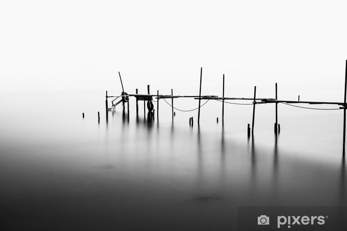 A Long Exposure of an ruined Pier in the Middle of the Sea.Processed in B&W. Vinyl Wall Mural - Landscapes