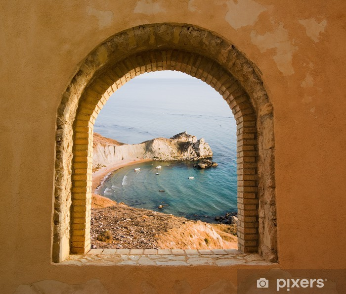 Arched Window On The Coastal Landscape Of A Bay Wall Mural