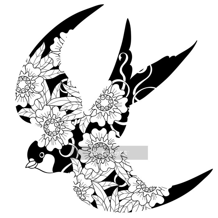 Swallow doodle on white background. Wall Decal - Animals