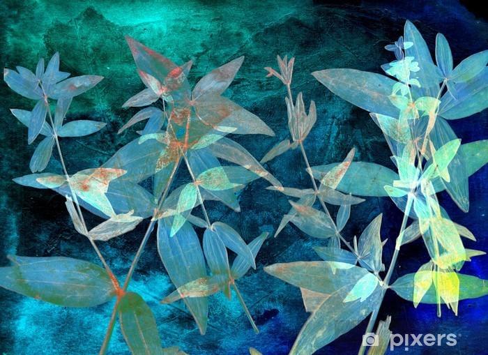 Vinyl Fotobehang Abstracte aquarel achtergrond en tak plant. Gemengde media - Grafische Bronnen
