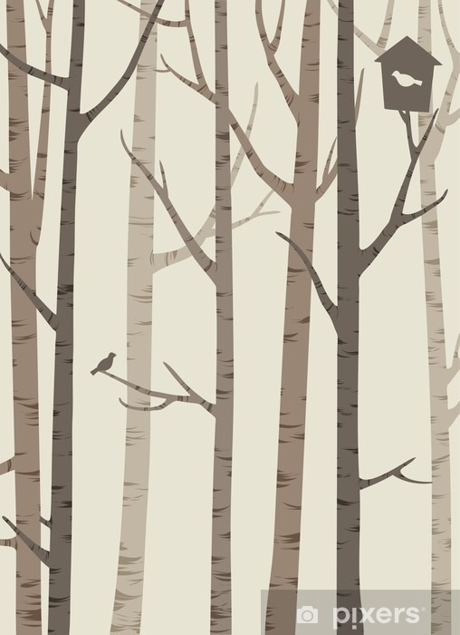 Deursticker Decoratieve silhouetten van bomen met een vogel en vogelhuisje - Bloemen en Planten