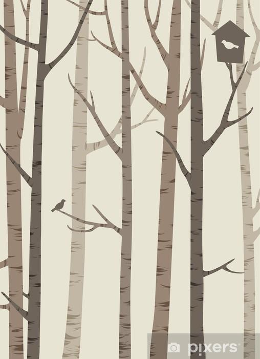 Nálepka na dveře Ozdobné siluety stromů s ptákem a ptačí budka - Rostliny a květiny