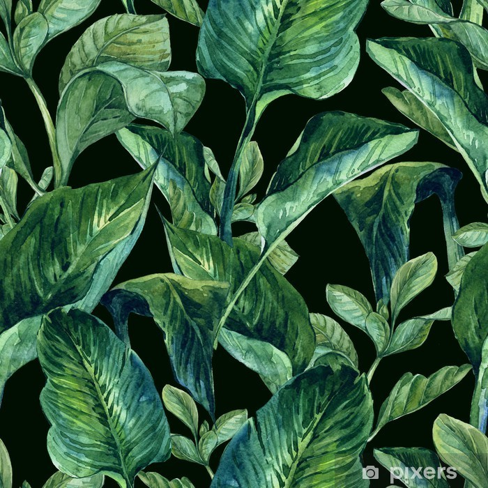 Watercolor Seamless Background with Tropical Leaves Lack Table Veneer - Flowers and plants