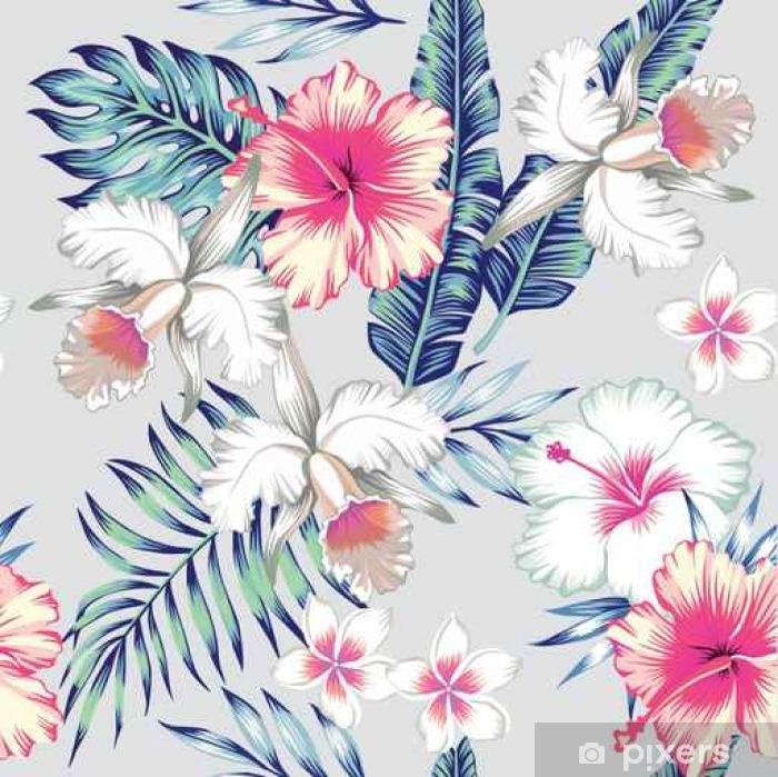 Mural De Parede Em Vinil Hibisco E Orquídeas Fundo Transparente Tropical