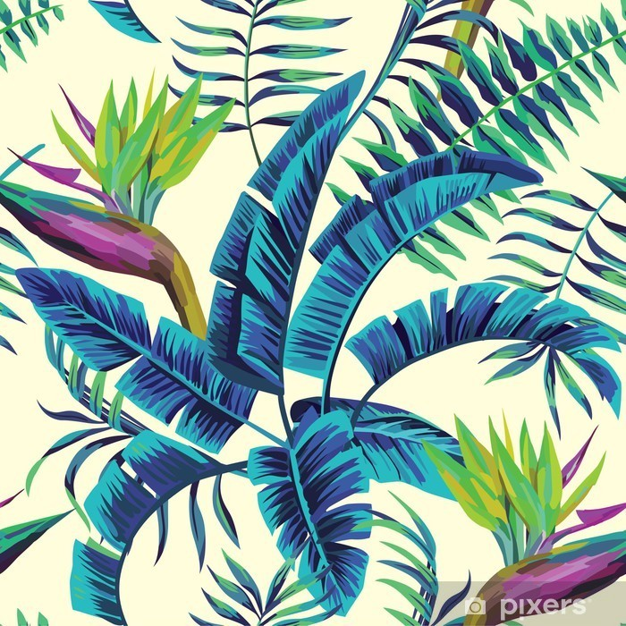 Tropical exotic painting Washable Wall Mural -