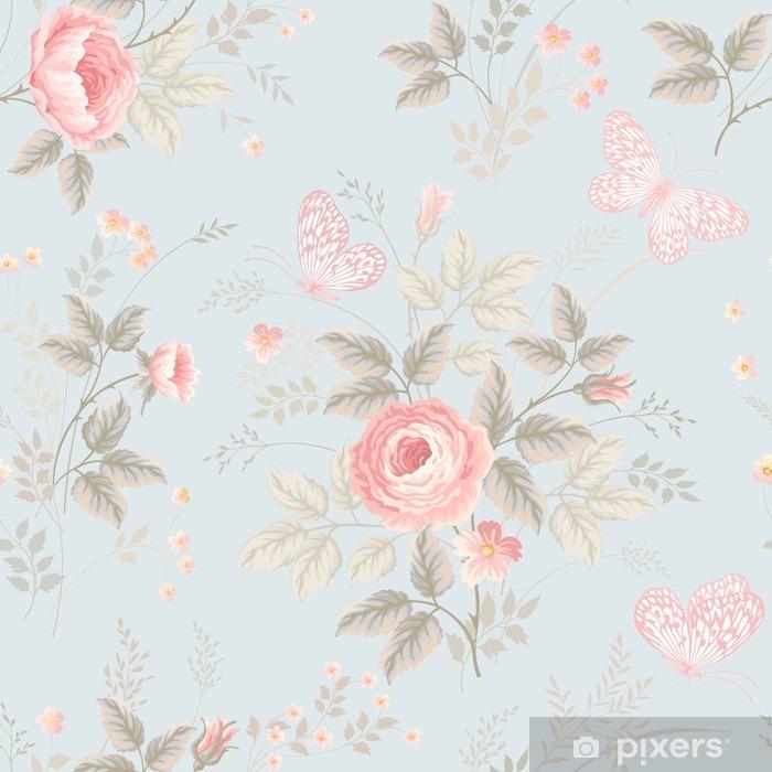 Naklejka Pixerstick Bez szwu kwiatowy wzór z róż i motyli - Rośliny i kwiaty