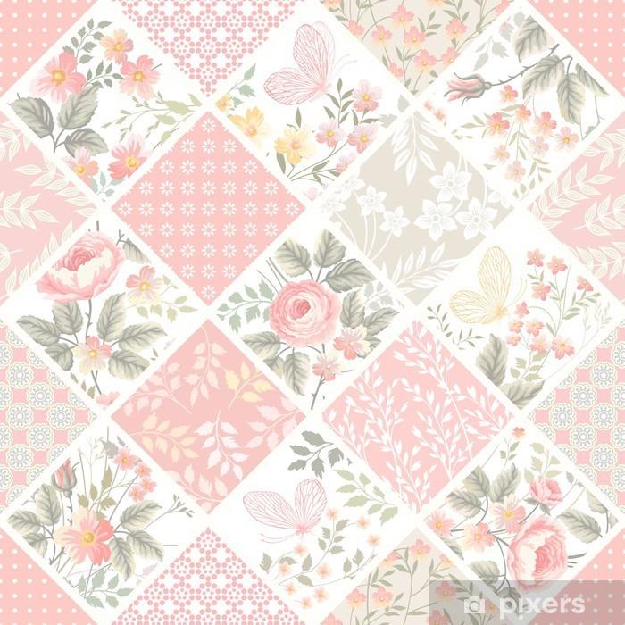 Papier peint vinyle Motif de patchwork sans couture avec des roses et des papillons dans des tons pastel - Ressources graphiques