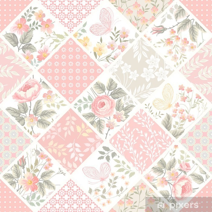 seamless patchwork pattern with roses and butterflies in pastel color Pixerstick Sticker - Graphic Resources