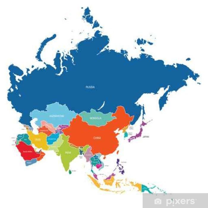 Naklejka Pixerstick Asia map - Podróże