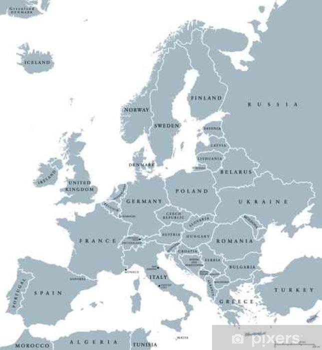 Fototapeta Europa Krajow Polityczna Mapa Z Granicami Panstwowymi I