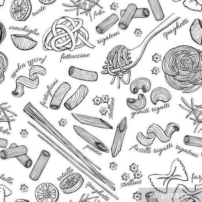 Nálepka na notebook Vector ručně kreslenou těstoviny vzor. Vintage perokresby ilustrace. - Jídlo