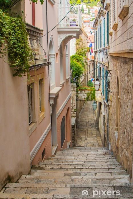Fototapeta winylowa Wąska ulica i schody w obrębie Starego Miasta w Dubrowniku, Chorwacja - Inne