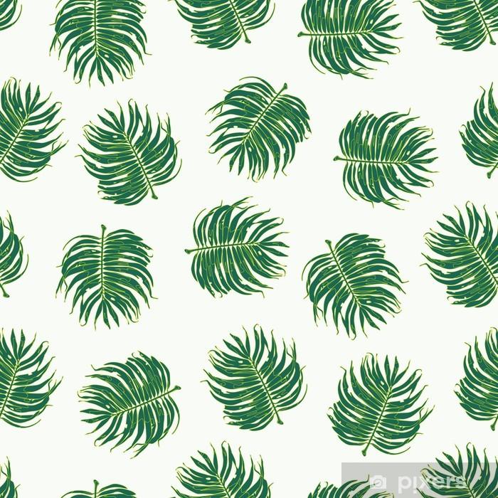 Carta da Parati in Vinile Floreale Palm Leaf Seamless Pattern - Sfondi