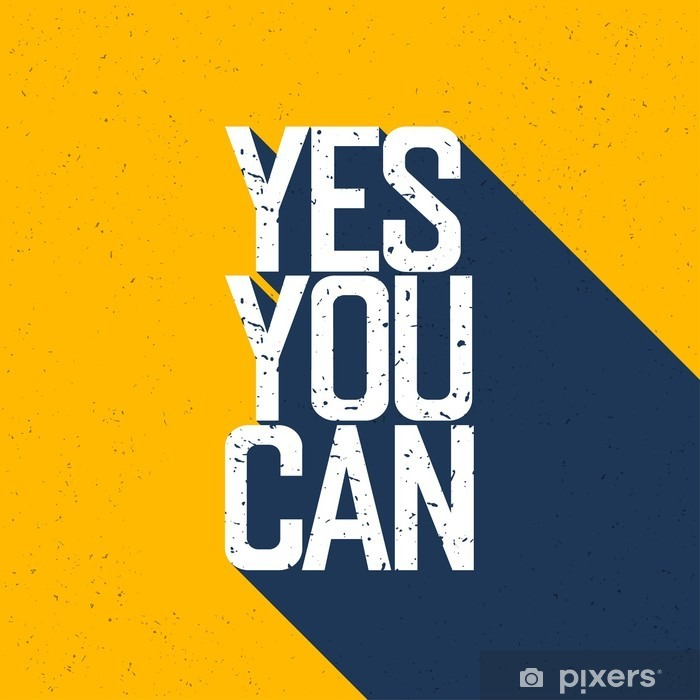 """Motivational poster with lettering """"Yes You Can"""". Shadows, on ye Framed Poster - Graphic Resources"""