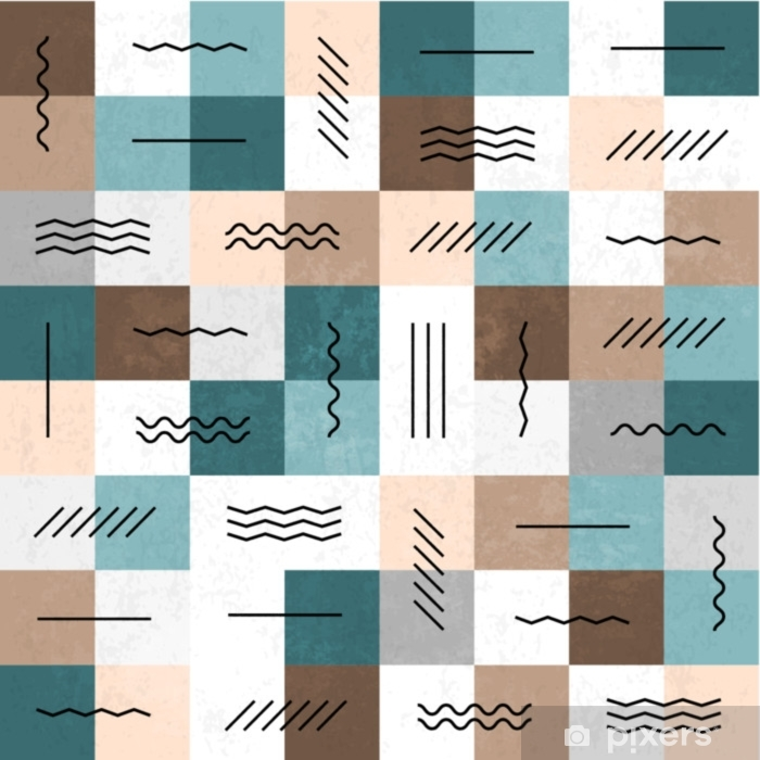 Geometric lines and squares seamless pattern. Retro colors. Text Poster - Graphic Resources