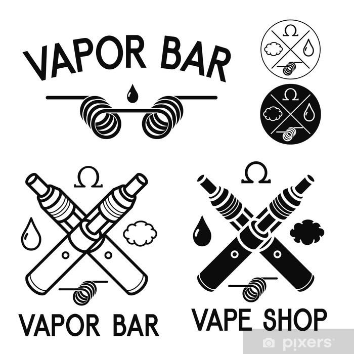 Fototapeta winylowa Vape sklep i bar. Wyizolowane logo na białym tle - Znaki i symbole