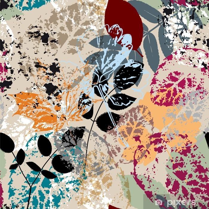Plakat Bezszwowe tło wzór, z liśćmi, udarów i odpryskami - Jesien