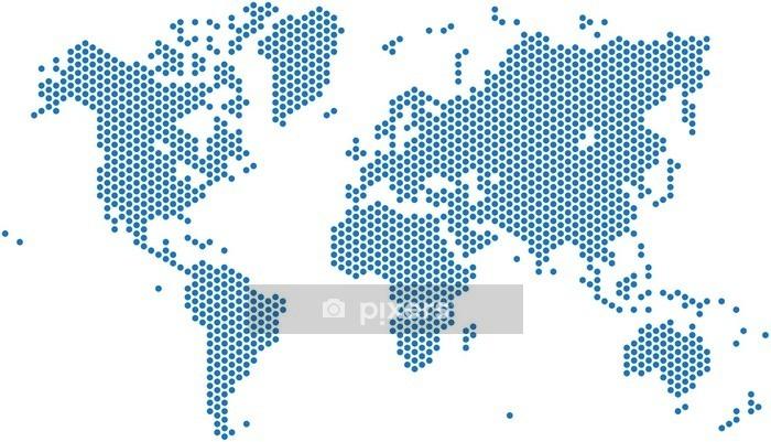 Sticker mural Carte du monde Dots sur fond blanc, illustration vectorielle. - Voyages