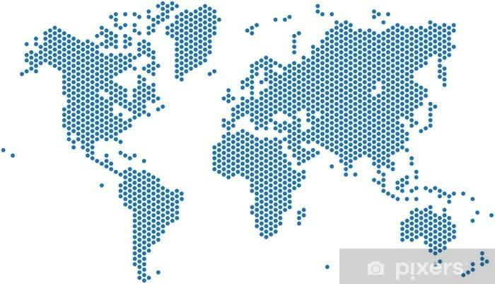 Fototapeta winylowa Kropki mapa świata na białym tle, ilustracji wektorowych. - Podróże
