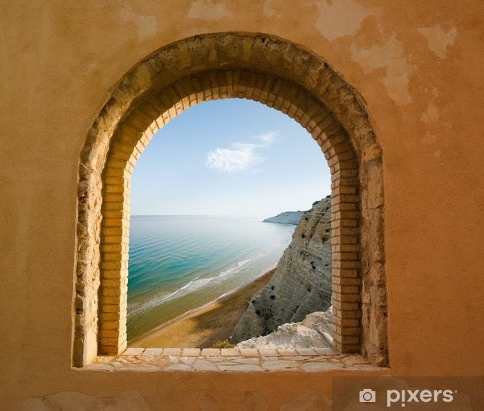 arched window on the coastal landscape of a bay Vinyl Wall Mural - Themes