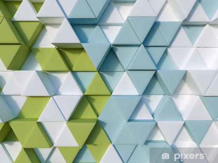 Pixerstick-klistremerke Grønn og blå abstrakt 3d trekant bakgrunn - Grafiske Ressurser