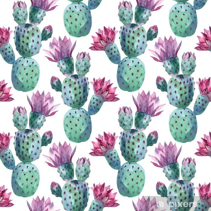 Watercolor seamless cactus pattern Vinyl Wall Mural -