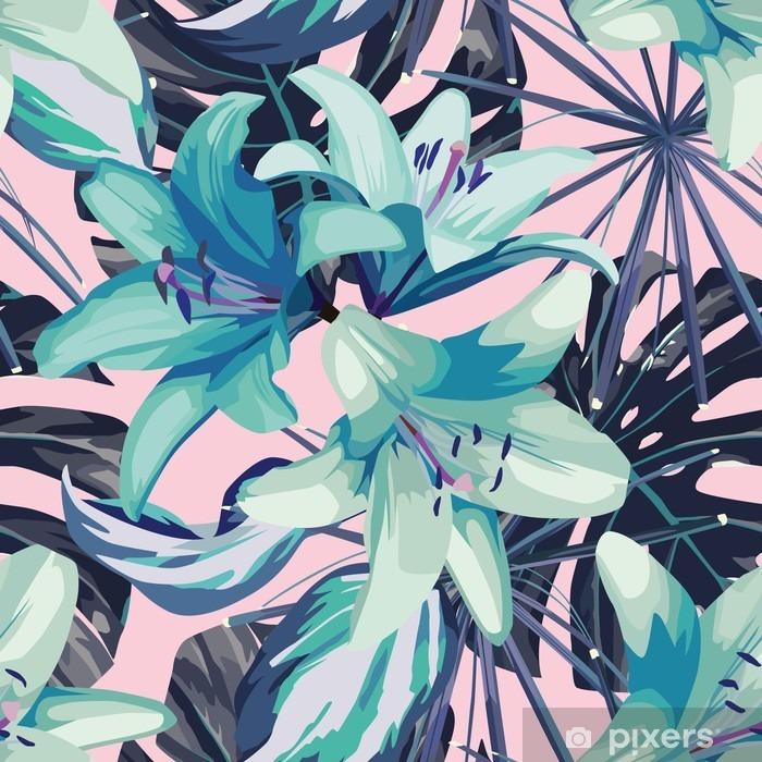 Fototapeta zmywalna Niebieska lilia i pozostawia bez szwu tła - Rośliny i kwiaty