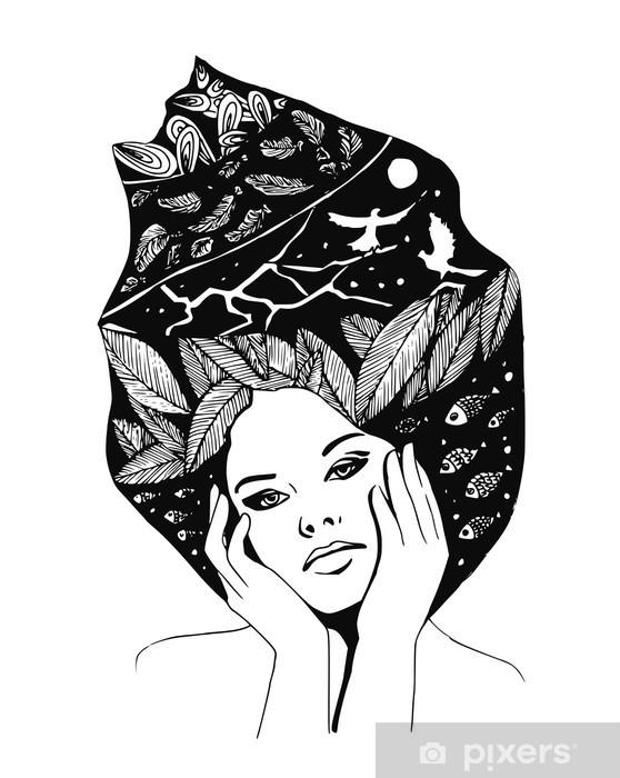 Pixerstick Sticker __illustration, grafisch zwart-wit portret van vrouw - Mensen