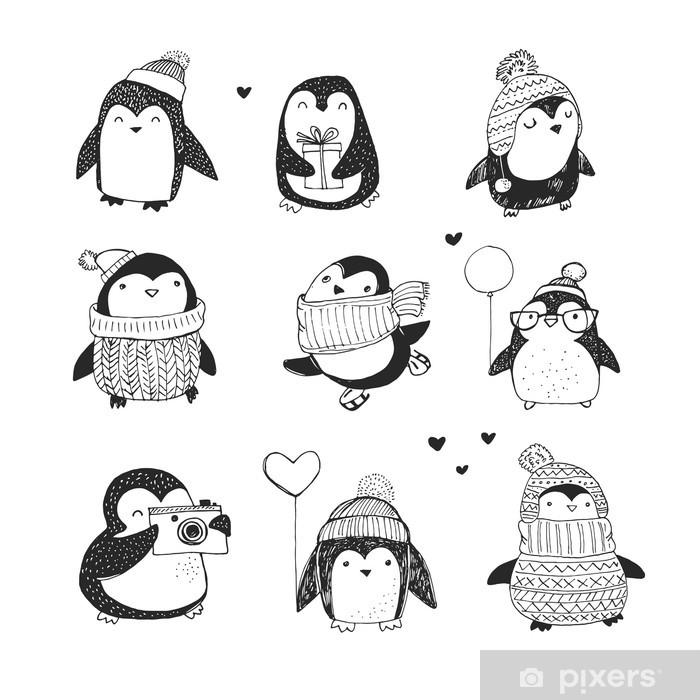 Poster Leuke hand getrokken penguins set - Merry Christmas greetings - Gezondheid en Geneeskunde