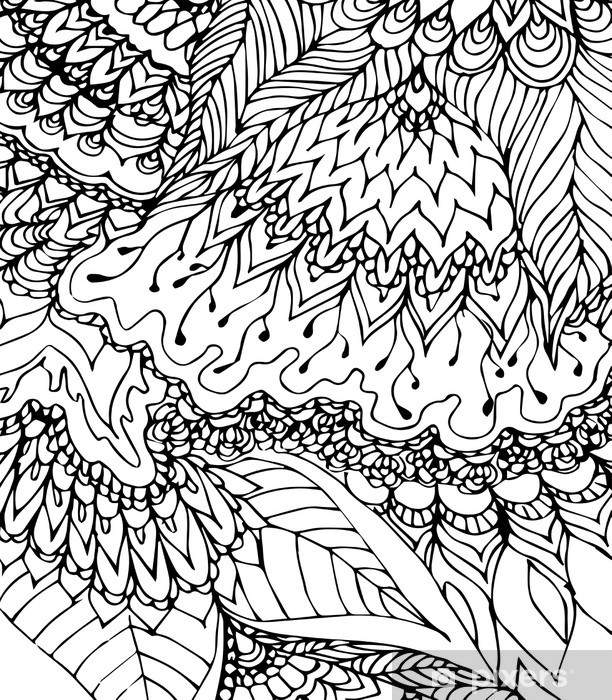 Fototapete Schwarz Weiss Vorlage Doodle Zeichnung Von Hand Gezeichnet Muster Abstrakte Schwarze Linien Kurven Und Blatter Auf Dem Weissen