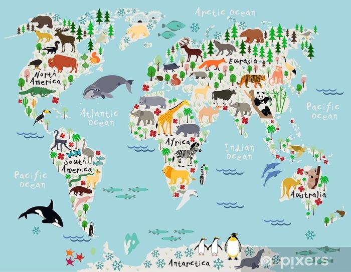 Mural De Parede Mapa Animal Do Mundo Para Criancas E Criancas
