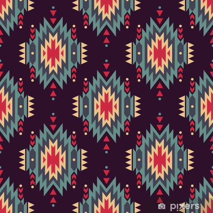 Vector seamless decorative ethnic pattern. American indian motifs. Background with aztec tribal ornament. Pixerstick Sticker - Graphic Resources