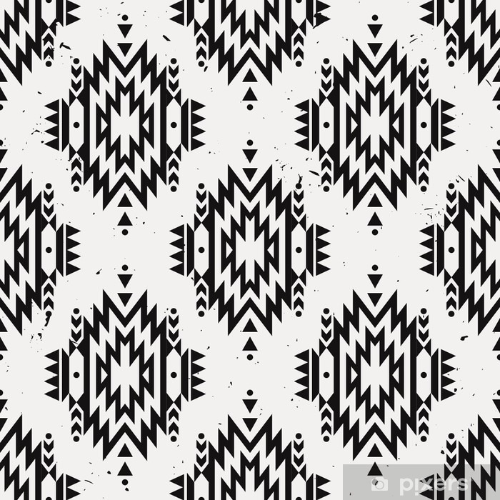 Fotomural Estándar Fondo del grunge del modelo monocromático étnica decorativo sin fisuras. motivos indios americanos. Fondo con el ornamento tribal azteca. - Recursos gráficos
