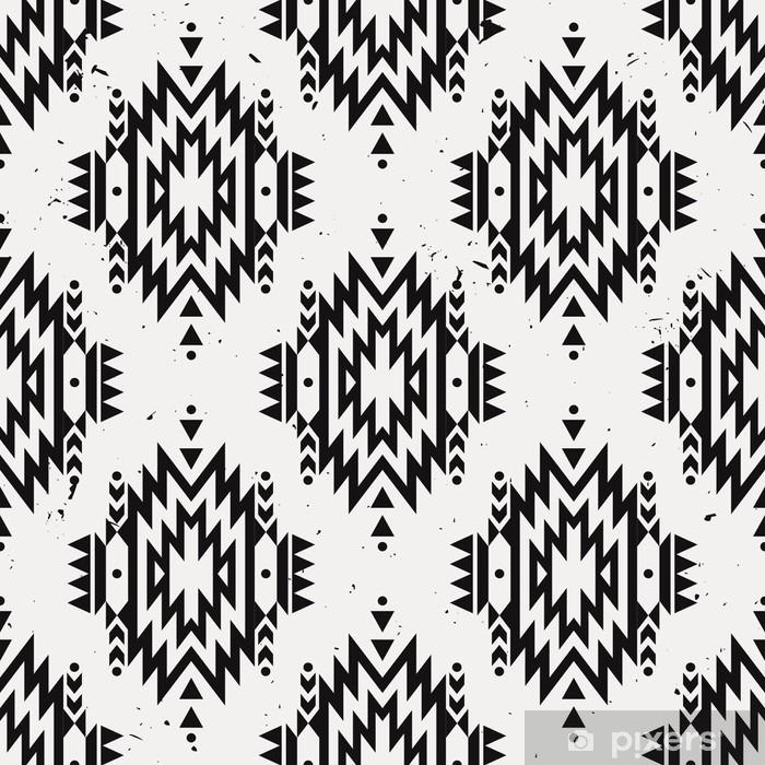 Pixerstick Sticker Vector grunge monochroom naadloze decoratieve etnische patroon. Amerikaanse Indische motieven. Achtergrond met Azteekse tribale ornament. - Grafische Bronnen