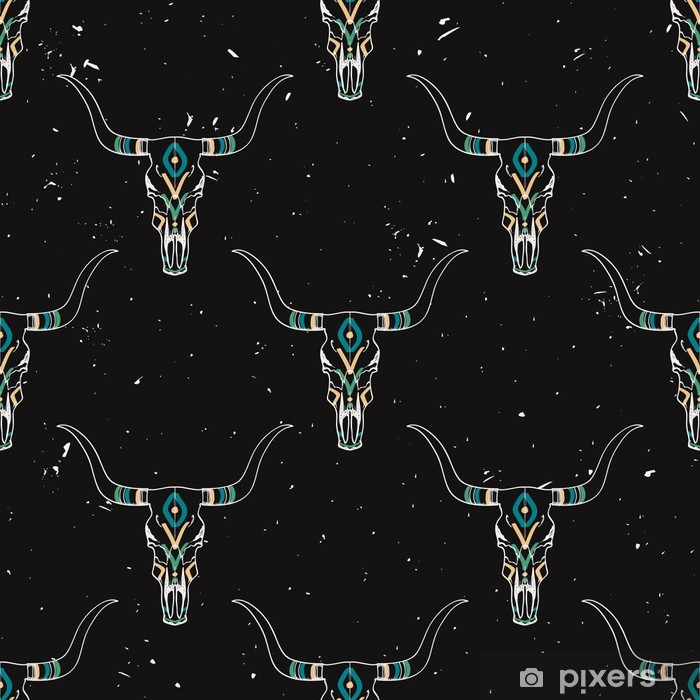 Vector grunge seamless pattern with bull skull and ethnic ornament Pixerstick Sticker - Backgrounds