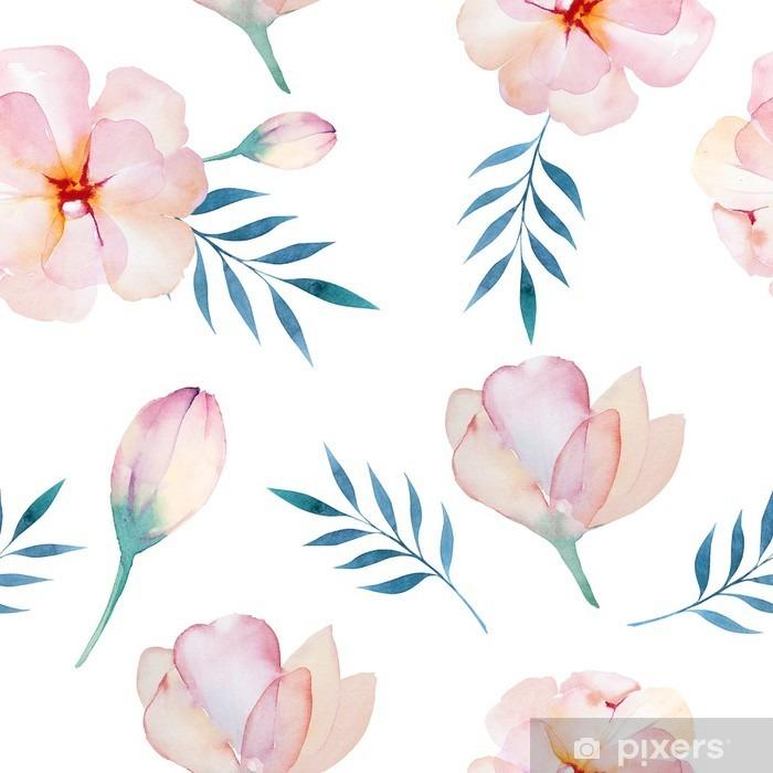 Papier peint vinyle Seamless wallpaper avec des fleurs stylisées, aquarelle illustratio - Plantes et fleurs