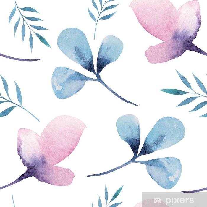 Seamless wallpaper with stylized flowers, watercolor illustratio Pixerstick Sticker - Flowers and plants