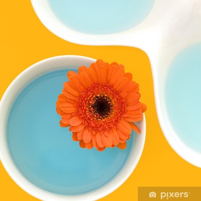 Fototapeta winylowa Martwa natura z Gerber kwiat w miski wypełnione niebieskim płynem - Kwiaty