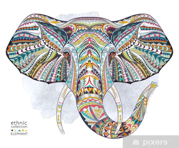 Sticker Pixerstick Tête ethnique à motif d'éléphant sur le fond de grange / design / totem / tatouage africain / indien. Utiliser pour impression, des affiches, des t-shirts. - Mammifères
