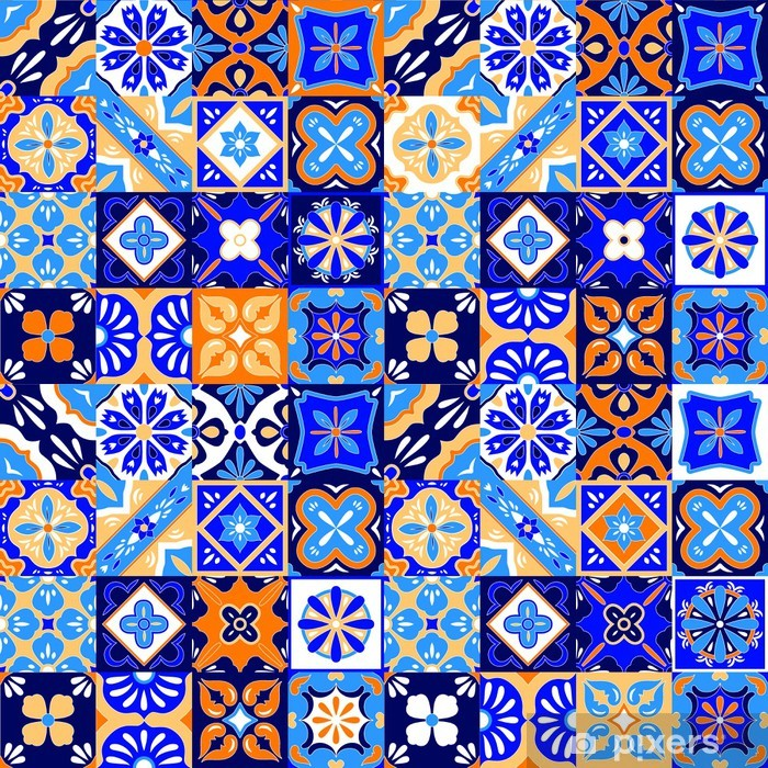 mexican stylized talavera tiles seamless pattern in blue orange