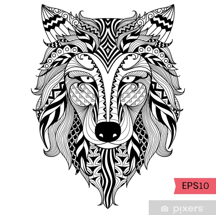 Mandala Tattoo Kleurplaten.Fotobehang Detail Zentangle Wolf Voor Kleurplaat Tattoo T