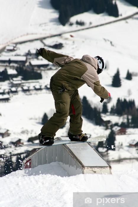 Snowboarder Box Slide Pixerstick Sticker - Holidays
