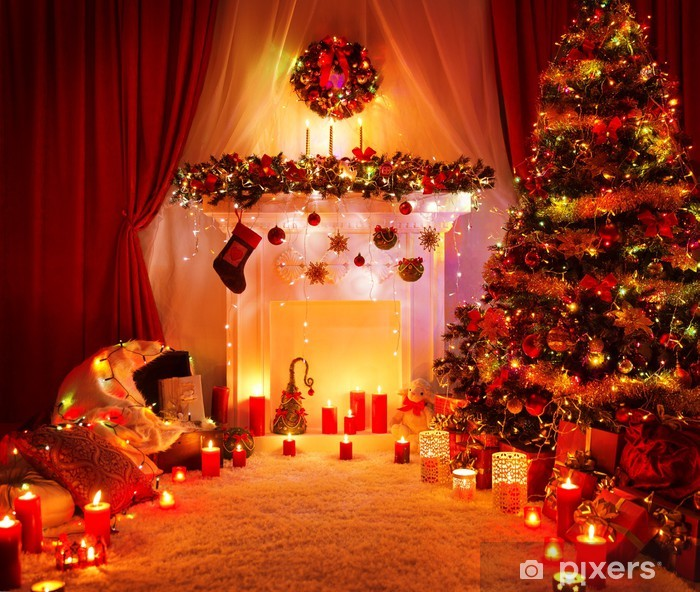 Room Christmas Tree Fireplace Lights, Home Interior Decoration Vinyl Wall Mural - International Celebrations