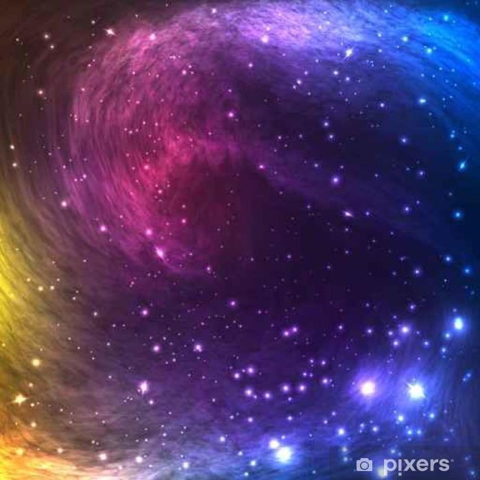Fototapet av vinyl Fargerike Space Galaxy Bakgrunn med lys, skinnende stjerner og nebula. Vector Illustrasjon for kunstverk, fest flyers, plakater, bannere. - Grafiske Ressurser