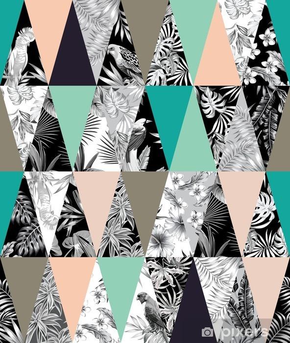 Dizüstü Bilgisayar Çıkartması Tropikal patchwork seamless background - Hayvanlar