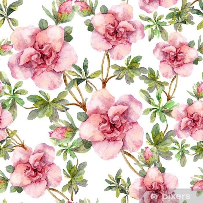 Pink Flowers Seamless Floral Repeated Template Hand Painted