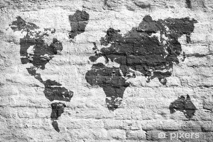 Plüschdecke Weiße Wand und Bild Karte der Welt - Zeichen und Symbole