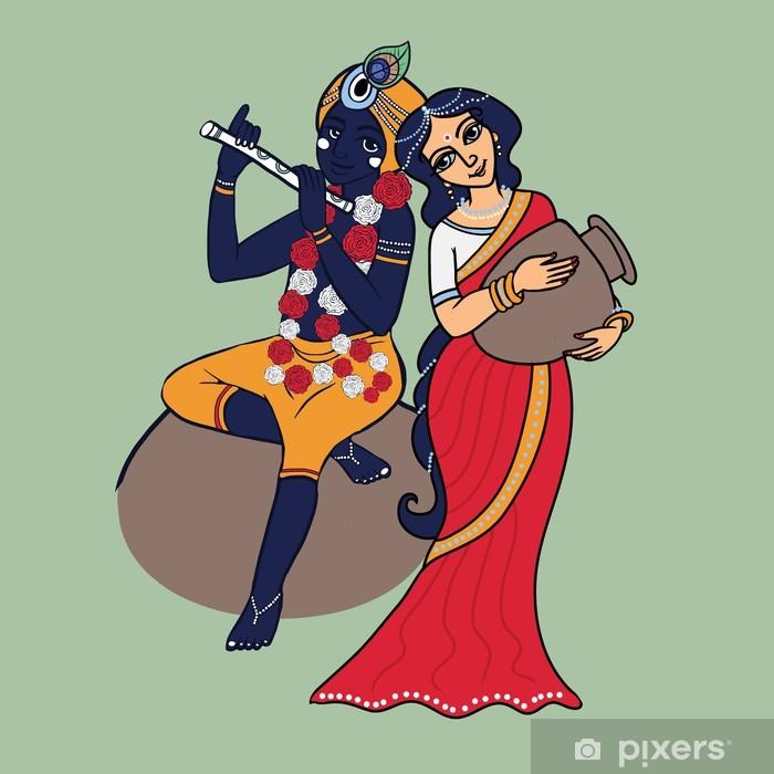 Cartoon Hindu gods Krishna and Radha  Lord Krishna playing on flute   Shrimati Radharani with pot in red sari  Wall Mural - Vinyl