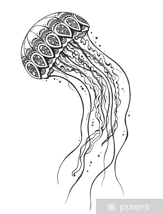 Hand drawn vector jellyfish in black and white doodle style. Vinyl Wall Mural - Aquatic and Marine Life