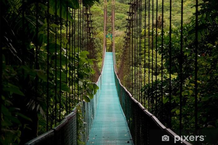 a hanging bridge in the costa rican jungle Pixerstick Sticker -